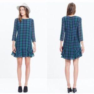 Madewell Larkin Silk Ruffle Tartan plaid dress 4